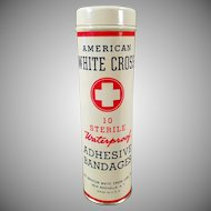 Vintage Bandage Tin - Full American White Cross Tin - Old Medical Advertising