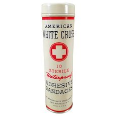 Vintage Bandage Tin - Full American White Cross Tin - Old Medical Advertising