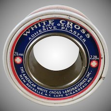 Vintage White Cross Zinc Oxide Adhesive Plaster Tin - Medical Advertising Tin