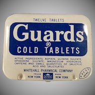 Vintage Medicine Tin - Guards Cold Aspirin Tablets - Old Medical Advertising