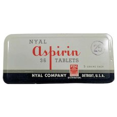 Vintage Medicine Tin - Nyal 36 Aspirin Tin - Old Medical Advertising
