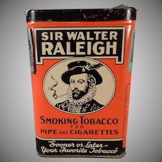 Vintage Tobacco Tin -  Old Sir Walter Raleigh Vertical Pocket Tin