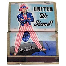 Vintage Matchbooks - Old United We Stand Uncle Sam Matchbooks - 4