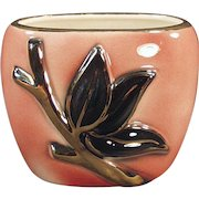 Vintage Royal Copley/Shafer Planter - Old Pottery Vase - Pink with Gold Enhanced Leaf Design