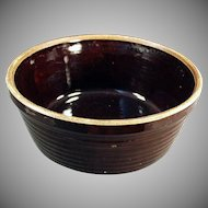 Vintage Stoneware Bowl - Old Pottery Bowl U.S.A. - Dark Brown Glaze