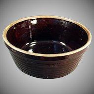 Vintage Stoneware Bowl - Old Pottery Bowl U.S.A. - Dark Brown Glaze