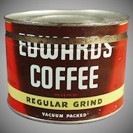Vintage 1# Coffee Can - Old Edwards Coffee Key Wind Tin