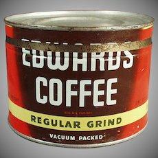 Vintage 1# Coffee Can - Old Edwards Coffee Key Wind Tin