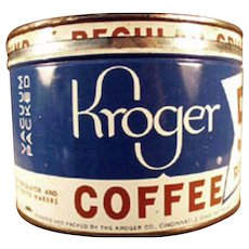 Vintage 1# Coffee Can - Old Key Wind Kroger's Coffee Tin
