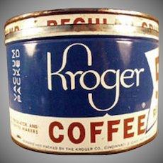 Vintage 1# Coffee Can - Old Key Wind Kroger's Coffee Tin