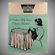 Vintage Kantwet Baby Basket Liner - Old Bassinet Liner - Yellow and White Lace