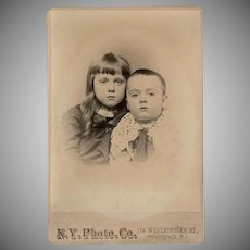 Vintage Cabinet Card Photograph - Young Boy and Girl - Adopt a Family