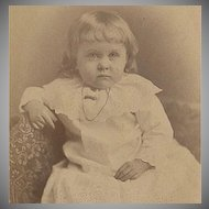 Vintage Cabinet Card - Old Photograph of a Little Girl in a White Dress