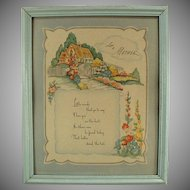 Old Framed Motto Print - Love to Mother Poem