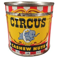 Vintage Circus Nut Tin - Small Cashew Tin with Elephant Logo
