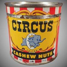 Vintage Circus Nut Tin - Small Cashew Tin with Elephant Logo