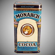 Vintage Cocoa Tin - Large Monarch Breakfast Cocoa Tin