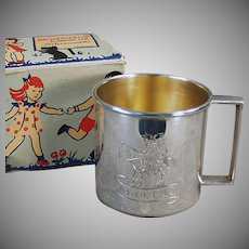 """Vintage Child's Cup Engraved with Design and """"Douglas"""" - Old Silver Plate Cup with Original Gift Box"""