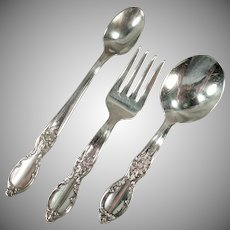 Vintage Victorian Rose Silver Plate - Baby's Old 3 Piece Flatware Set