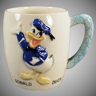 Vintage Donald Duck Mug - Child's Old Ceramic Milk Cup