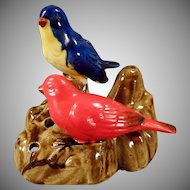 Vintage Pottery Flower Frog - Two Colorful Birds - Made in Japan