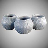 Vintage Pottery - Old Three Section Planter - Blue Glaze