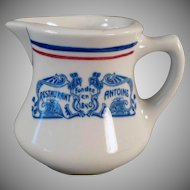 Vintage Antoine of New Oreans Restaurant China Cream Pitcher - Old Creamer