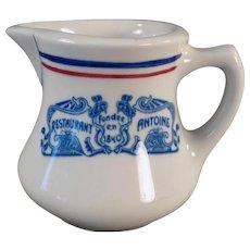 Vintage Antoine of New Oreans Restaurant China Cream Pitcher - Old Creamer