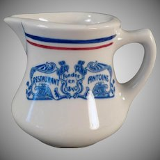 Vintage Restaurant China Cream Pitcher - Old Restaurant Antoine of New Oreans - Old Creamer