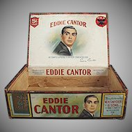 Vintage Eddie Cantor Cigars Box - Old Paper Labeled Wooden Box