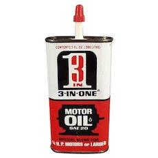 Vintage Oil Tin - Old 3-in-One Motor Oil Tin