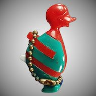 Vintage Dexterity Puzzle Key Chain - Colorful Comical Duck - Red, Blue, Green