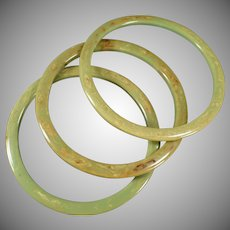 Vintage Bangle Bracelets - Three Piece Set - Mottled Green Bakelite