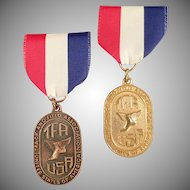 "Vintage Sports Medallions - Old ""TFA"" Track and Field Medals with Original Ribbons"