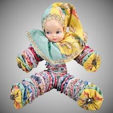Vintage Cloth Yo-Yo Doll – Old Bed Doll Made of Quilt Circles