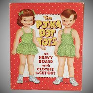 Vintage Paper Dolls - The Polka Dot Tots Polly and Peter - Original Clothes and Box - 1959