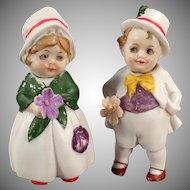 Vintage Bisque Nodder Dolls  - Little Boy and Girl - Hand Painted German Nodders