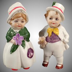 Vintage Bisque Nodder Dolls - Boy and Girl - Hand Painted German Nodders