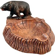 Vintage Syroco Bear Figure - Old Ashtray or Desk Paperweight