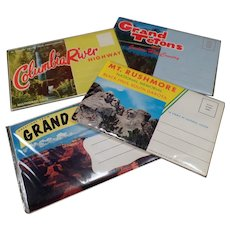 Four Vintage Foldout Souvenir Postcards - Columbia River, Grand Canyon, Mt Rushmore, Grand Teton