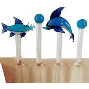 Vintage Swizzle Sticks - Old Blown Glass Swizzlers with Different Fish - Set of 4