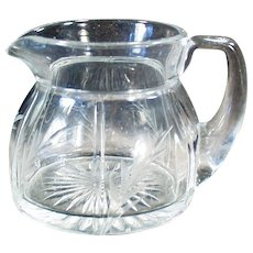 Vintage Heisey Glassware - Old Rib and Panel Creamer with Cut Design