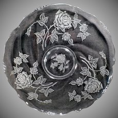 """Vintage Heisey Glassware – 14"""" Party Plate – Old Heisey Rose #515 Etch on Waverly Pattern"""