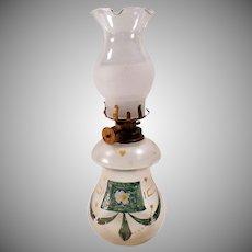 Vintage Miniature Kerosene Oil Lamp - Old Glass Lamp with Hurricane Shade