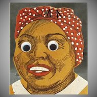 Vintage Black Memorabilia Old Black Mammy with Google Eyes - Die-Cut Wall Pocket