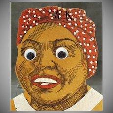 Vintage Black Memorabilia Old Black Mammy with Google Eyes - Die-Cut Wall Pocket
