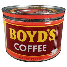 Vintage 1# Coffee Can - Old Boyd's Key Wind - Portland Oregon Advertising Tin