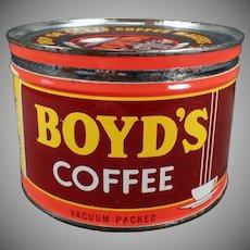 Vintage 1# Coffee Can - Old Boyd's Key Wind - Portland Oregon Advertising Tin