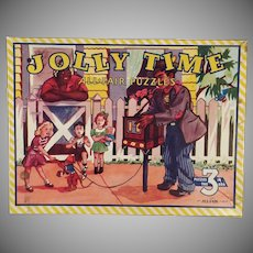 Vintage Picture Puzzles – Old Jolly Time All Fair 3 Puzzle Set with Original Box