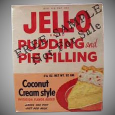 Vintage Jell-O Sample Box - 1950's Coconut Cream Pudding and Pie Filling Box